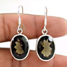 925 Sterling Silver Vintage Jewellery Beautiful Smoky Quartz Gemstone Earrings Wholesaler
