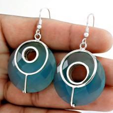 925 Sterling Silver Jewellery Traditional Chalcedony Gemstone Earrings