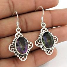 925 Sterling Silver Fashion Jewellery Trendy Mystic Topaz Gemstone Earrings