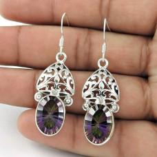 925 Sterling Silver Vintage Jewellery Artisan Mystic Topaz Gemstone Earrings