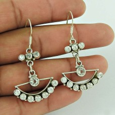 Scenic 925 Sterling Silver White CZ Gemstone Earring Ethnic Jewellery