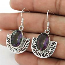 Sterling Silver Jewellery High Polish Mystic Topaz Gemstone Earrings