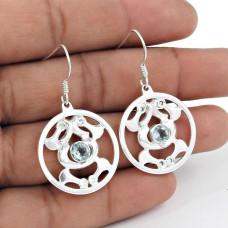 Perfect 925 Sterling Silver Blue Topaz Gemstone Earrings