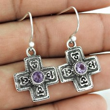 Natural! Beauty 925 Sterling Silver Amethyst Earrings Fabricant