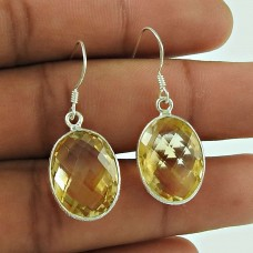 Personable 925 Sterling Silver Citrine Gemstone Earring Jewellery