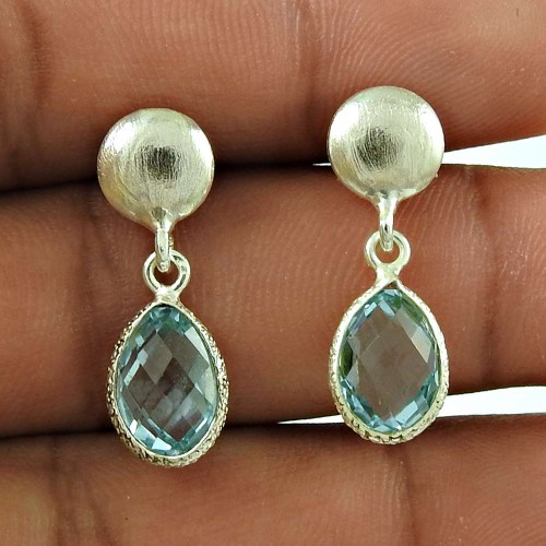 Scrumptious 925 Sterling Silver Blue Topaz Gemstone Earring Jewellery
