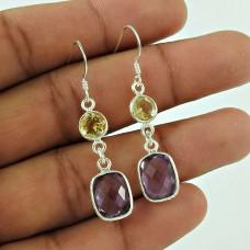 Trendy 925 Sterling Silver Citrine Amethyst Gemstone Earring Jewellery