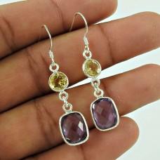 Charming 925 Sterling Silver Citrine Amethyst Gemstone Earring Vintage Jewellery Wholesale Price