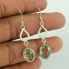 Sightly 925 Sterling Silver Green Amethyst Gemstone Earring Vintage Jewellery