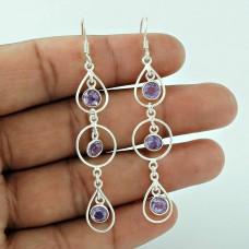 Beautiful 925 Sterling Silver Amethyst Gemstone Earring Jewellery Supplier