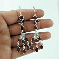 925 Silver Jewellery High Polish Garnet, Blue Topaz Gemstone Earrings