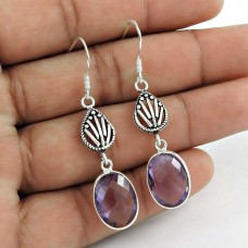Natural Beauty 925 Sterling Silver Amethyst Earrings Exporter