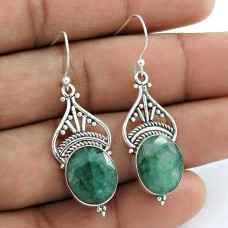 925 Sterling Silver Jewellery High Polish Emerald Gemstone Earrings