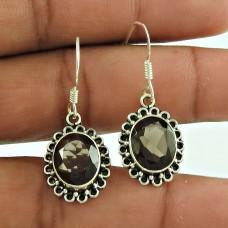 Graceful 925 Sterling Silver Smoky Quartz Gemstone Earring Jewellery