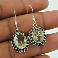 Stunning 925 Sterling Silver Green Amethyst Gemstone Earring Fabricante