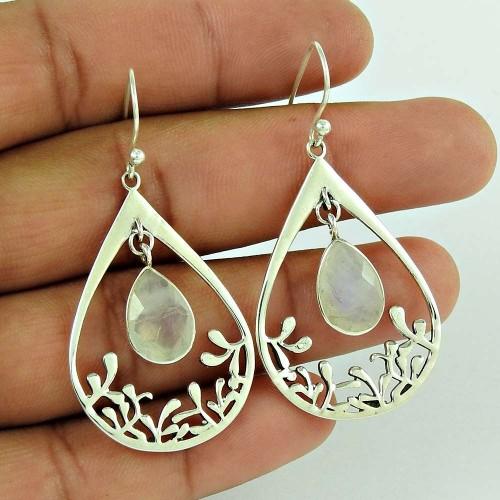 Good-Looking 925 Sterling Silver Rainbow Moonstone Earring Jewellery