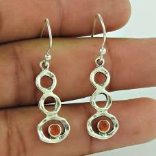 Amusable 925 Sterling Silver Carnelian Gemstone Earring
