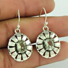 Stylish 925 Sterling Silver Green Amethyst Gemstone Earring Jewellery