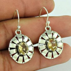 To Be Creative !! 925 Sterling Silver Citrine Gemstone Earring Jewellery