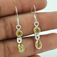 Trendy 925 Sterling Silver Citrine Gemstone Earring Jewellery