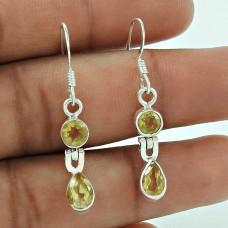 Charming 925 Sterling Silver Citrine Gemstone Earring Vintage Jewellery