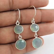 925 Sterling Silver Jewellery Rare Chalcedony Gemstone Earrings