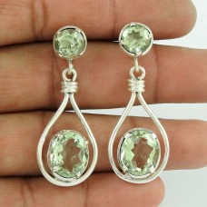 925 Sterling Silver Vintage Jewellery Ethnic Green Amethyst Gemstone Earrings