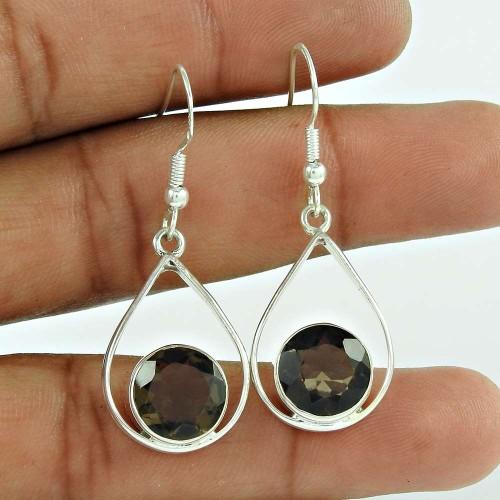 925 Sterling Silver Jewellery Ethnic Smoky Quartz Gemstone Earrings Wholesaler