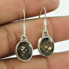 925 Silver Jewellery Fashion Smoky Quartz Gemstone Earrings