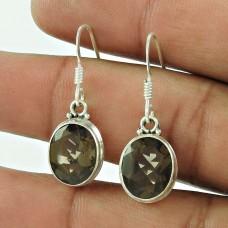 925 Sterling Silver Jewellery Ethnic Smoky Quartz Gemstone Earrings