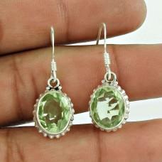 925 Sterling Silver Gemstone Jewellery Charming Green Amethyst Gemstone Earrings