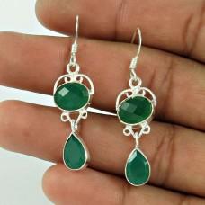 Sterling Silver Fashion Jewellery Rare Green Onyx Gemstone Earrings Mayorista