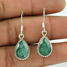 Engaging 925 Sterling Silver Emerald Gemstone Earring Jewellery