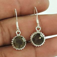 Trendy 925 Sterling Silver Smoky Quartz Gemstone Earring Jewellery
