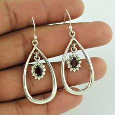 925 Sterling Silver Jewellery Ethnic Garnet Gemstone Earrings