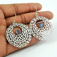 Huge Modern Style 925 Sterling Silver Labradorite Earrings Exporter India