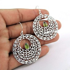 Sterling Silver Indian Jewellery High Polish Blue Topaz Gemstone Earrings