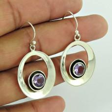 Scenic 925 Sterling Silver Amethyst Gemstone Earring Supplier