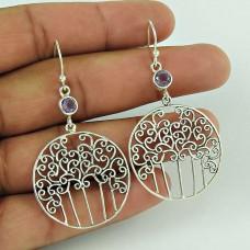 Trade Secret !! 925 Sterling Silver Amethyst Gemstone Earring Jewellery