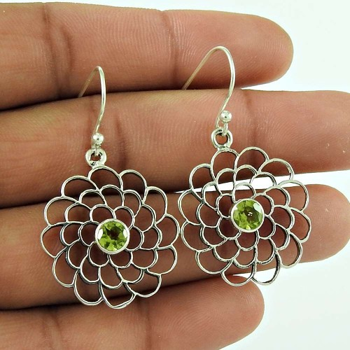 Tradition !! 925 Sterling Silver Peridot Gemstone Earring Traditional Jewellery