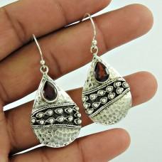 Traditional Design !! 925 Sterling Silver Garnet Gemstone Earring Jewellery