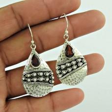 Pleasing 925 Sterling Silver Garnet Gemstone Earring Jewellery