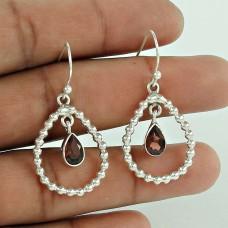 Sterling Silver Jewellery High Polish Garnet Gemstone Earrings