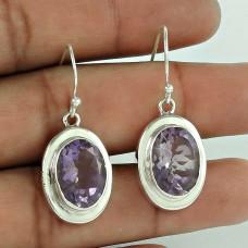 Indian Sterling Silver Jewellery Charming Amethyst Gemstone Earrings Exporter