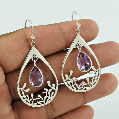 Special Secret !! 925 Sterling Silver Amethyst Gemstone Earring De gros
