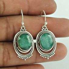 Designer 925 Sterling Silver Emerald Gemstone Earring Traditional Jewellery