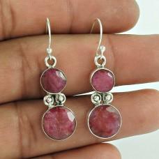 Pretty 925 Sterling Silver Ruby Gemstone Earring Jewellery