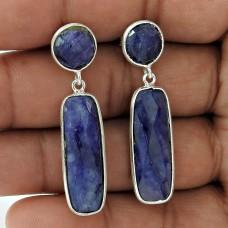 925 Sterling Silver Jewellery Traditional Blue Sapphire Gemstone Earrings Wholesaling