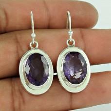Unique !! 925 Sterling Silver amethyst Gemstone Earring Jewellery