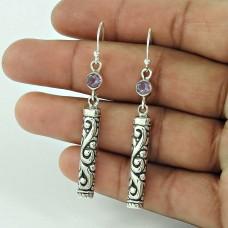 925 Sterling Silver Jewellery High Polish Amethyst Gemstone Earrings Supplier